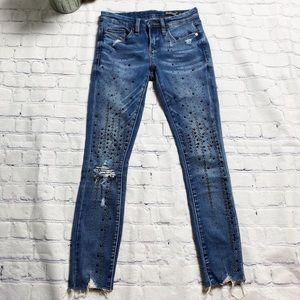 Blanknyc studded raw hem skinny jeans